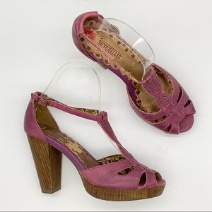 Anthropologie Shoes - SEYCHELLES heeled purple leather sandals, 6.5.